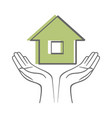 hands holding house sketch icon isolated on white vector image vector image