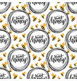 honey seamless pattern with bee packaging design vector image vector image