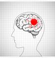 human brain inside head migraine disease vector image vector image