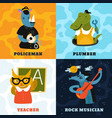 humanized animals different professions concept vector image vector image