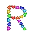Letter R made of multicolored hearts vector image vector image
