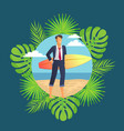 male in suit stands on sand with surfboard vector image vector image