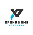 monogram logo design letter pv vector image vector image