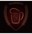 Mug beer with ears of wheat on dark brown vector image
