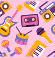 music instrument seamless pattern colorful vector image