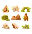 natural brown and green rocks of different shape vector image vector image