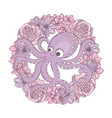octopus wreath holiday flower bouquet vector image vector image