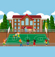 people cheering basketball match vector image vector image
