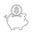 piggy bank for money save line icon vector image