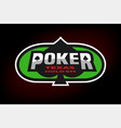 poker emblem on the background of a green table vector image vector image