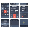 Red and blue set of mobile interface elements on vector image vector image