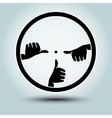 Round sight with crosshairs of hands vector image