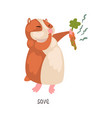 save english language preposition and cute hamster vector image vector image