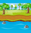 scene with river run trhough park vector image vector image