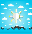 sea ocean waves with paper cut sun on blue sky vector image vector image