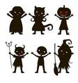 set of children silhouette in halloween costume vector image vector image