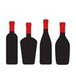 set of wine bottles for design on white stock vector image