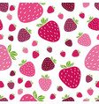 summer pattern with delicious strawberries vector image vector image