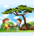 two girls having picnic in park vector image vector image