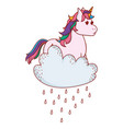 unicorn with clouds vector image