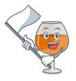 with flag cognac ballon glass mascot cartoon vector image vector image