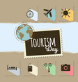 world tourism day card on brown background vector image vector image