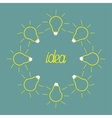 Yellow empty light bulb round frame Idea concept vector image vector image
