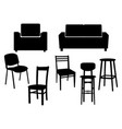 collection black silhouette of chairs icon vector image