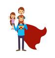 colorful image caricature full body super dad hero vector image