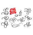 set of calligraphic design flourish vector image