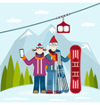 flat design on selfie ski and snowboard theme vector image