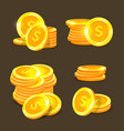 gold coins icons golden coins stacks and vector image