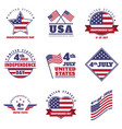 4th july united states independence day emblem set vector image vector image