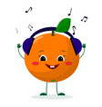 a cute orange character in cartoon style listening vector image