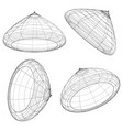 abstract 3d wireframe objects 3d spatial shapes vector image vector image
