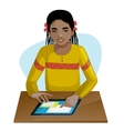 African american girl working on digital tablet vector image vector image