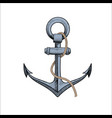 anchor with rope on white vector image vector image