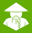 asian man in conical hat icon green vector image vector image