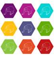 bald wakari icons set 9 vector image