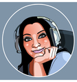 beautiful girl in headphones smiling vector image vector image