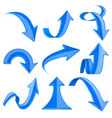 blue 3d arrows bent and curled up icons vector image vector image