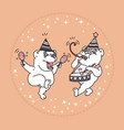 card with two cute bears in party hats vector image vector image