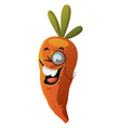 carrot wearing monocle on white background vector image vector image