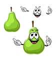 Cartoon funny green pear fruit vector image vector image