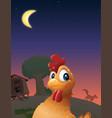 chicken coop wolf vector image vector image
