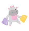 cute adorable hippo with a pink bow walking with vector image vector image