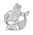 dreamy lying mermaid with long curly hair vector image