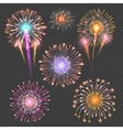 Festive firework set on checkered dark vector image vector image