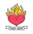 flaming heart tattoo true love red burning heart vector image