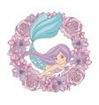flower mermaid floral wreath vector image vector image